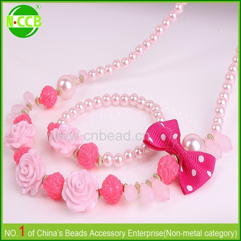 New bulk simple design bubblegum kids necklace for girls