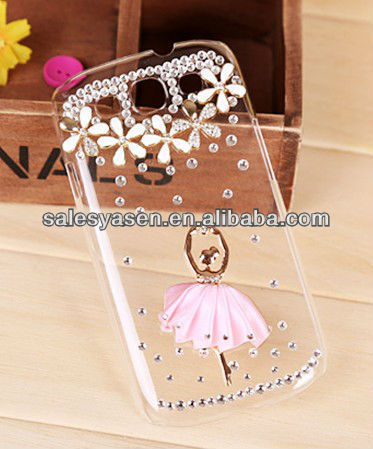 Transparent case for samsung i9300 galaxy s3 with diamond