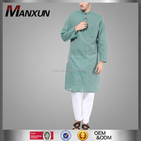 Middle East Islamic Clothing For Men Green Striped Men Two Pieces Set Kurta