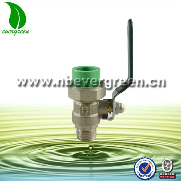 Brass body PPR male connector ball valve