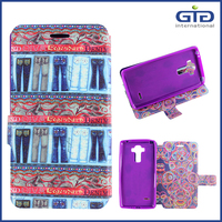 [NP-2618] OEM Phone Case With Double Design Patterns Shining Flip Cover For LG G4 Stylus, G4