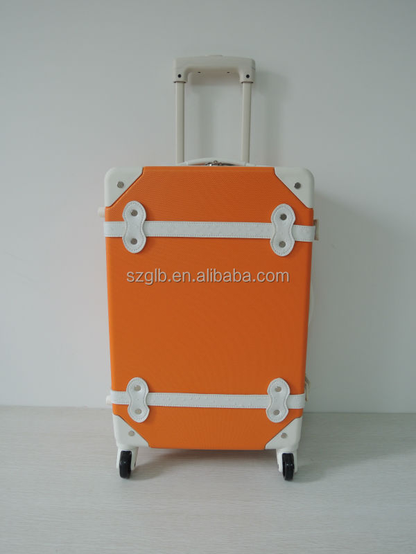 ABS leather belt orange retro vintage luggage suitcase