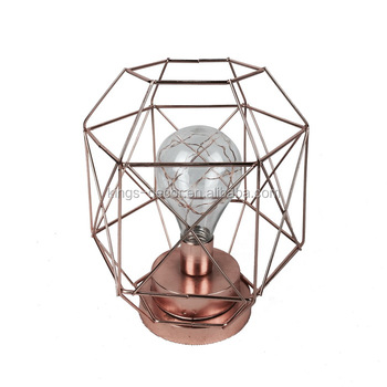 The geometric shape iron wire candle holder,rose golden plating