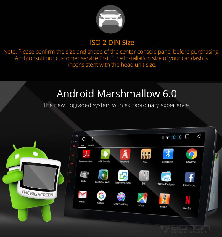 EONON GA2163 2-DIN 10.1 Inch Android Marshmallow 6.0 Multimedia Car GPS with Mutual Control EasyConnected (Without DVD Function)