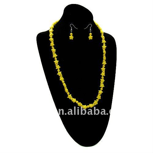 fashion cheap yellow star acrylic beads necklaces and earring jewelry set.one dollar beads jewellery set for promotional girt