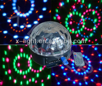 Magical led Six Color ball light/christmas laser light show with MP3 player Radio Computer audio function