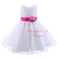Newest Summer Girls Prom Dresses With Hot Pink Flowers Fluffy Girl Party Dress Fancy Kids Clothes MBGD90220-3
