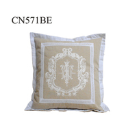 Wholesale custom cotton home decorative embroidery design cushion cover pillowcase