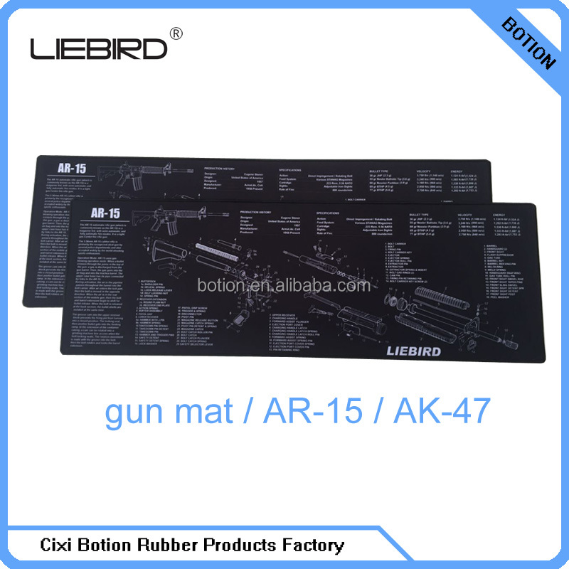 Extra long shooting gun mats with AR -15/AK-47 rifle diagram printed