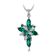 JewelryPalace Flower Shape Pendant trendy jewelry 2.6ct Created Green Emerald 925 Sterling Silver for Women