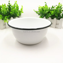 White color enamel bowls different sizes metal enamel bowl with black rim