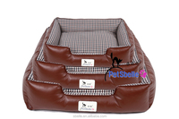 Waterproof leather plaid shape dog bed dog house