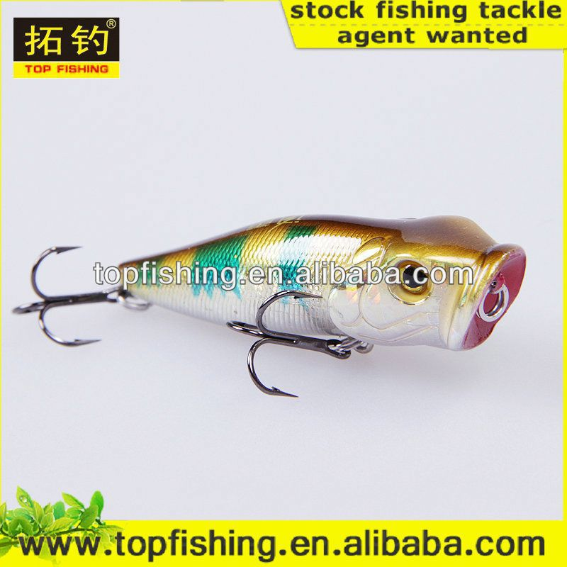 80mm 16g wholesale top water hard plastic game popper lure fishing floating 3d real fish eyes