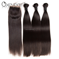 Brazilian natural color cut from one donor brazilian straight hair with closure