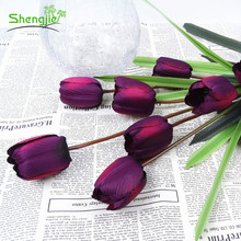 Promotional simulation party decorative 5 heads silk tulip flower centerpieces