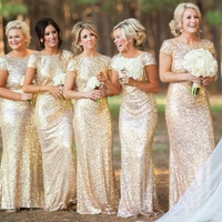 MS69918W bridesmaid dress fashion golden sequin woman evening dress
