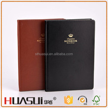 Good quality western education pu leather vintage thick notebook with ribbon