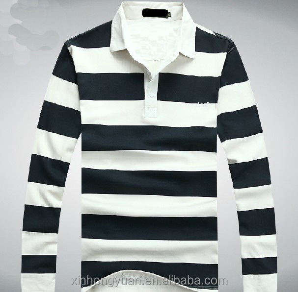 200gsm pique cotton jersey man button polo stripe wholesale polo shirts in long sleeve