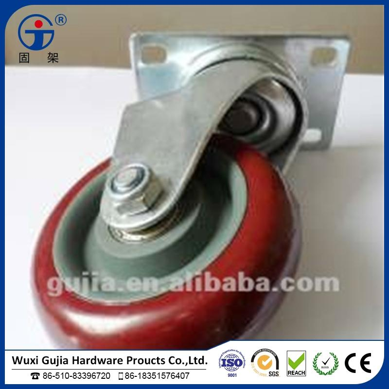 "4"" swivel PU caster for storage cart with wheels without brake"