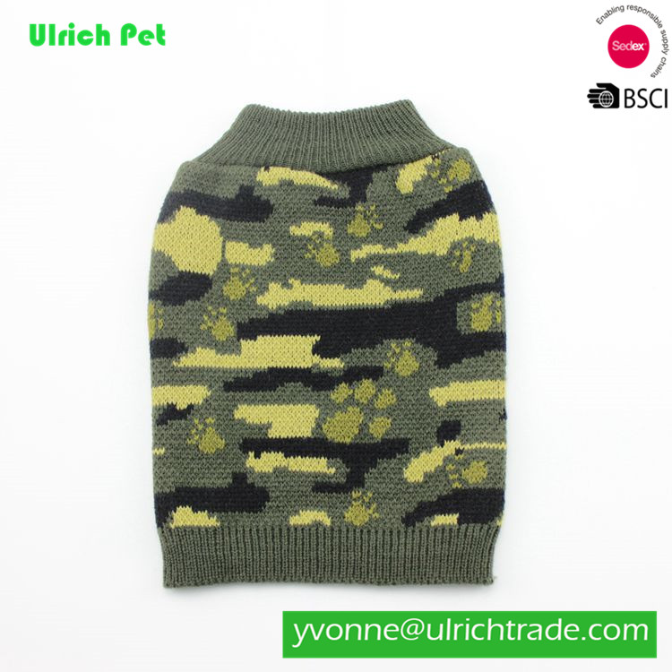 Z28 fashion 100% acrylic knitting army green sweater pet clothes
