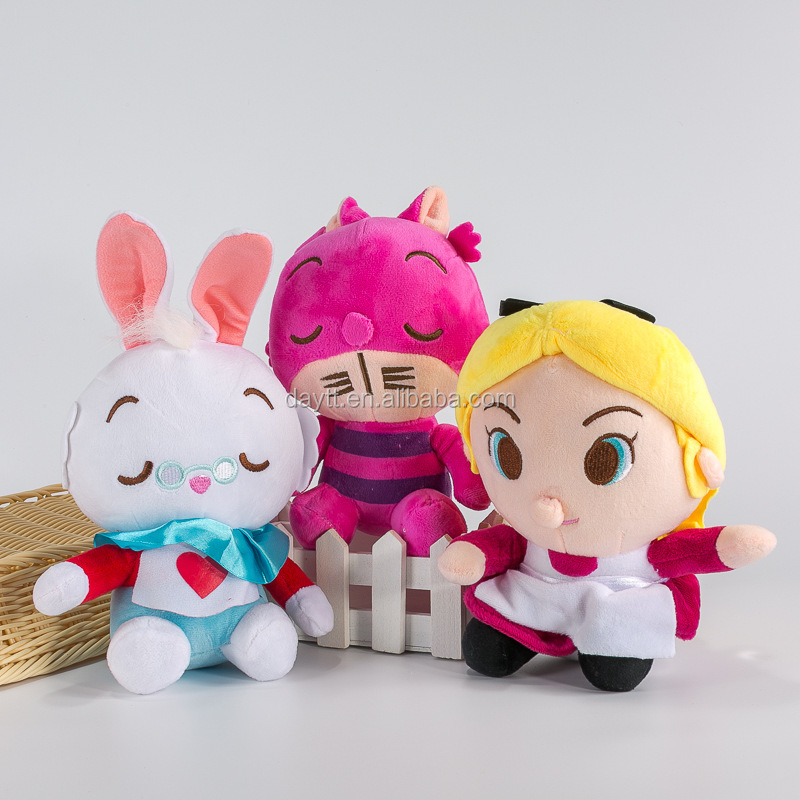 "8"" Alice's Adventures in Wonderland <strong>Plush</strong> Toy Cheshire Cat White Rabbit Cartoon Anime Cartoon Soft Toys for Kids"
