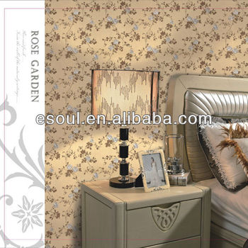 Rose flower PVC wallpaper with bedroom decoration wallpaper