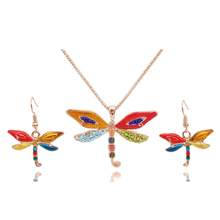 2016 New Enamel Animal Jewelry Sets Bead Dragonfly Necklace