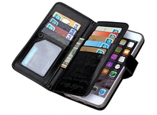 Wallet Case With Card Slots As More As 9 Card Slots And Magnetic Separated Back Cover Flip Leather Type for iPhone 6 6S Plus Gen