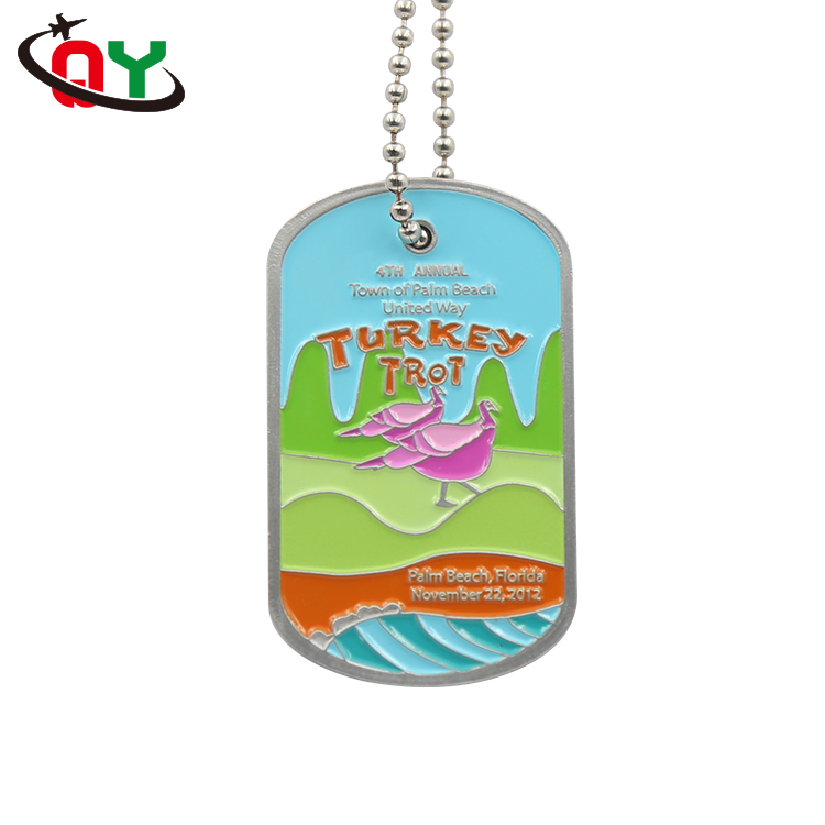 Full color printed animal turkey pet tag kids custom aluminum personalised dog tags for pets