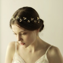 Summer leaves pearl Bridal Headbands <strong>Hair</strong> <strong>Accessories</strong> New Tiara Gold Metal wedding Hairbands <strong>Hair</strong> Hairwear princess party Crowns