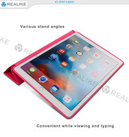 Tri-fold standing smart leather cover for ipad pro, magnetic case cover for ipad