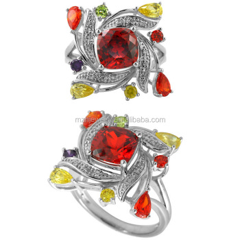 hand setting coloured cushion CZ stone 925 sterling silver ring