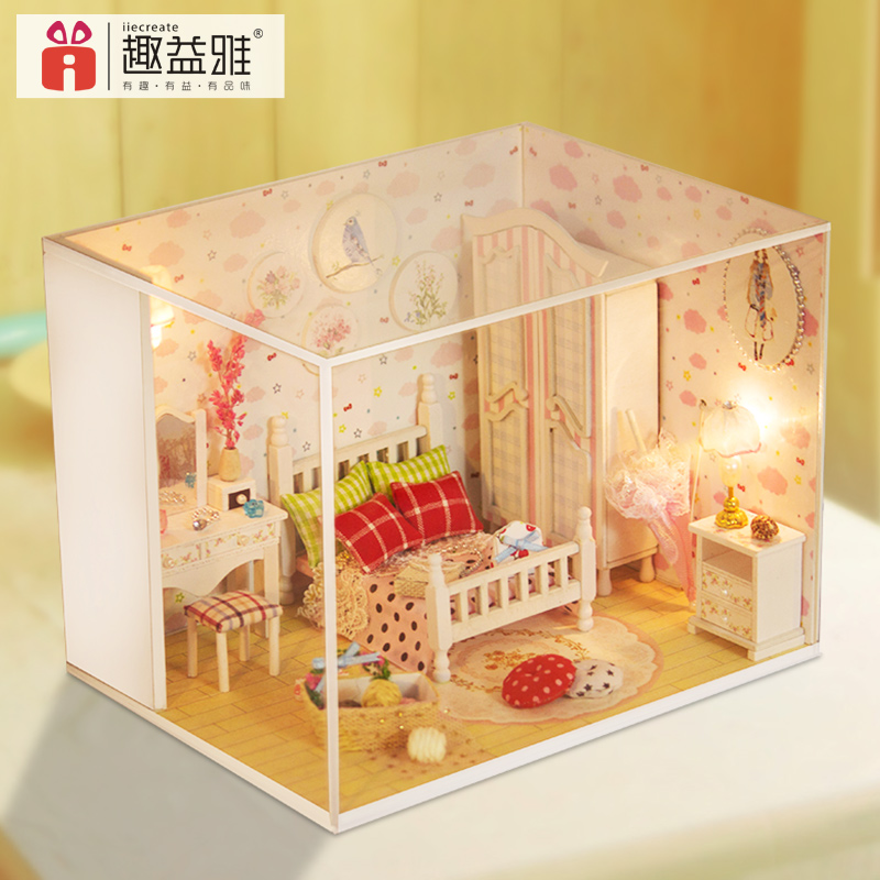 Creative diy 3d mini cute wooden toy doll house miniature diy house for girls
