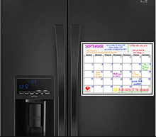Custom dry erase magnetic refrigerator calendar for kitchen