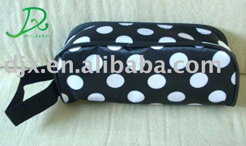 Pink dot large capacity 2 section cosmetic bag with compartments