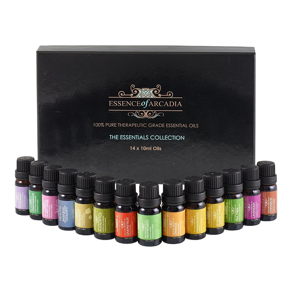 Aromatherapy Top 14 Essential Oils 100% Pure & Therapeutic grade - Basic Sampler Gift Set & Premium Kit - 14/10 Ml--826034