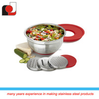 2015 Latest Design and High Quality Stainless Steel Mixing Bowl with PE Lid & 3pcs Grater Set