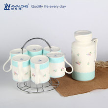 porcelain Chinese cool water pot, pot and mug 7pcs for 6 person, flower design