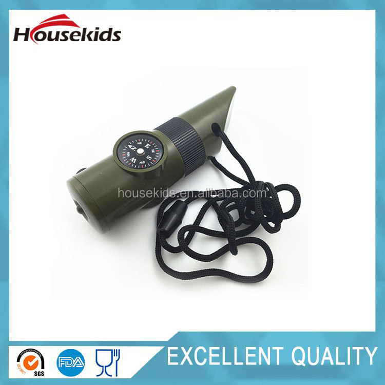 Hot 7 of 1 Whistle Multi Function Camping Hiking Survival Emergency With Compass Outdoor Whistle