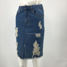 Women OEM latest distressed wrap denim long skirt