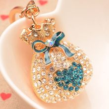 Fashion heart-shaped alloy lucky bag key ring Crystal diamond key chain girls bag ornaments unique car pendant creative gifts