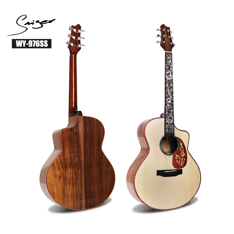 Jumbo all solid wood acoustic guitar wholesale China