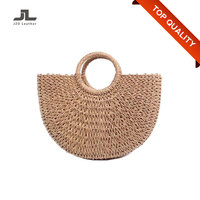 2018 India Custom Fashion Nature Color Straw Summer Beach Round Beach Basket Clutch Handmade Braided Bag