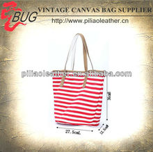 2014 Latest Red Stripe Cotton Tote Bags with Leather Trim