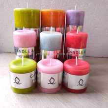 wholesale Christmas decoration paraffin wax cylinder candle 5*7.5