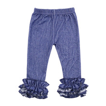 wholesale icing pants denim pants girls leggings with triple ruffle kids jeans