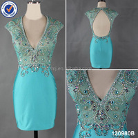 Latest dress designs heavy beaded sequin cap sleeve short tight prom dress
