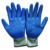 blue latex coated grey cotton glove