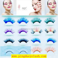 Hot sale colorful synthetic hair material false eyelashes