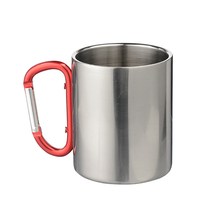 220ml Sublimation Silver Stainless Steel Travel Mug with Carabiner Handle